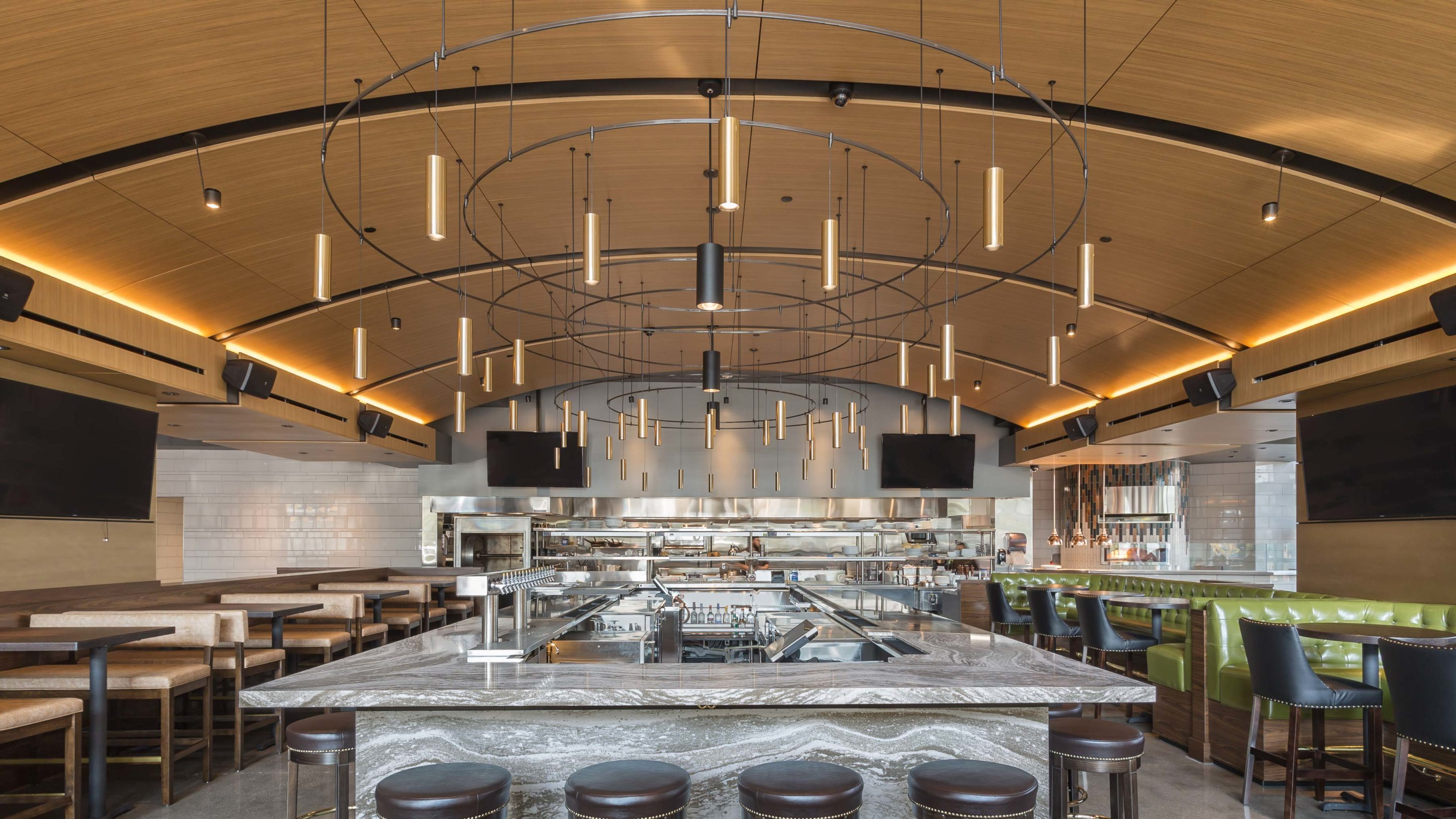 Hazelwood Food + Drink features SoundPly's Curved Acoustic Ceiling Panels.